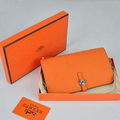 Hermes Dogon Compact Orange Cross Pattern Sliver Hardware Women s Purses  birkin bag 549b0e857e