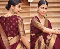 Maroon banarasi weaving silk Indian wedding saree 1017