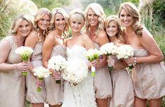 bridesmaids dresses color. love the different dresses.