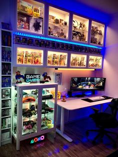 We inspire you to create your very own computer setup, workstation and battlestation. Computer Gaming Room, Gaming Room Setup, Computer Setup, Gaming Rooms, Best Gaming Setup, Bedroom Setup, Room Ideas Bedroom, Gamer Bedroom, Small Game Rooms