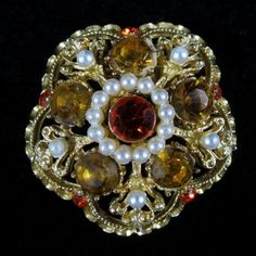Red & Topaz Rhinestone Faux Pearl Brooch – Signed Weiss