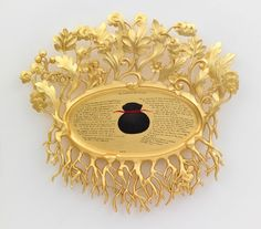 Nedko Solakov, The Investment (the Money Pouch), 2008, acrylic and black drawing ink on gilded carved limewood