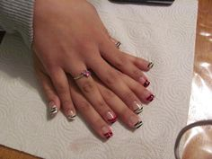 I did these nails on a friend of mine! it was like last year though.. I honestly don't know why I stopped doing acrylic nails, but I am going to start again I have everything except a few things. I need to put everything I have bought to use! Pink and white zebra acrylic nails.