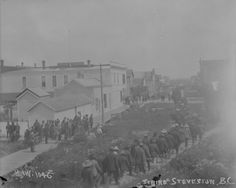 The Fraser River Strike in July 1900, also known as the Steveston Salmon Strike, is known as a milestone for the B.C. fishing industry. Canners had agreed earlier in the year to offer a uniform price for fish, but fishermen considered it too low. The strike united fisheries workers across ethnic lines and is notable for its duration and significance - martial law was imposed in Steveston. (Photo via Library and Archives Canada, Info via Gulf of Georgia Cannery) Fraser River, Social Studies, Martial, Salmon, Georgia, Ethnic, Law, Archive