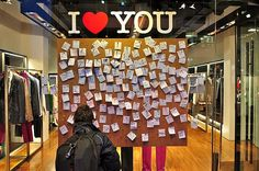 Valentines Day window display, just a cork board for ppl to leave their own notes :)