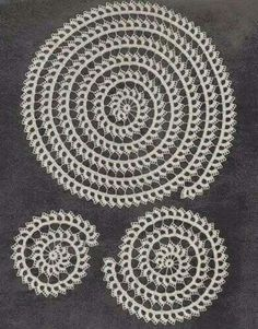 PDF Spiral Doily Set Crochet Pattern Scroll Doilies hollywoodpatterns - Craft Supplies on ArtFireThis is a pdf pattern that will be sent to your email within hours of payment SIZES Large mat in diameter medium sized mat small mat MATERIALS Daisy Merc Crochet Doily Patterns, Thread Crochet, Crochet Motif, Crochet Designs, Crochet Doilies, Crochet Stitches, Crochet Hooks, Knit Crochet, Pdf Patterns