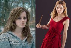 """""""Harry Potter e as Relíquias da Morte - Parte 1"""" chega aos cinemas nesta sexta-feira (19/11), em estreia mundial. Passados nove anos, muita coisa mudou na saga _os atores cresceram, os fãs também. Mas uma mudança em particular merece destaque: a aparência da personagem Hermione Granger ( Emma Watson ). Descrita por J.K. Rowling no livro """"Harry Potter e a Pedra Filosofal"""" como uma menina com """"[...] tom de voz mandão, os cabelos castanhos muito cheios e os dentes da frente meio grandes"""", a…"""