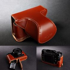 Handmade Genuine Real Leather Half Camera Case Bag Cover for Leica Q Typ116 Blue Bottom Opening Version