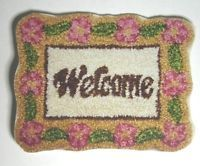 """Dollhouse Miniature Floral Welcome Mat - """"Shabby and Chic"""" Floral Look"""