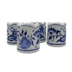 4 Vintage Blue White Funny Design W Germany Small Tiny Taper Candle Holders Taper Candle Holders, Blue Home Decor, Funny Design, Germany, Blue And White, Candles, Mugs, Vintage, Cups