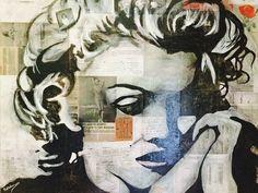 """Art Technique Mixte Media Original Grande Toile Peinture à l'Acrylique Moderne Contemporaine 36""""x36"""" Marilyn Monroe par Kathleen Artist PRO"""