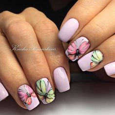 Beautiful pink simple elegant nail art with butterfly