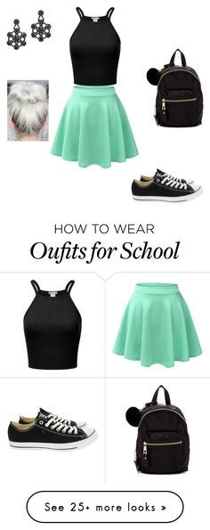 School outfit by purplepanda202 on Polyvore featuring LE3NO, Converse, Madden Girl and Kate Spade