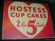 VINTAGE HOSTESS CUP CAKE TIN SIGN cupcake art heart 50s bakery diner metal wall