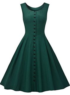 Missmay Women's Audrey Hepburn Sleeveless Retro Swing Rockabilly Evening Dress--Love this vintage look! Vestidos Vintage, Vintage Dresses, Vintage Outfits, Vintage Fashion, Vintage Style, 1950s Dresses, Vintage Pins, Retro Outfits, Vintage Floral