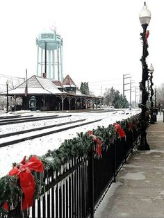 Snow covered Railway Station in Old Town Manassas, VA