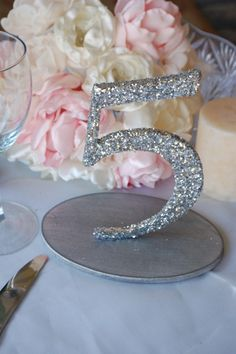 Glitter Wedding Table Numbers - Silver / Gold 1-10