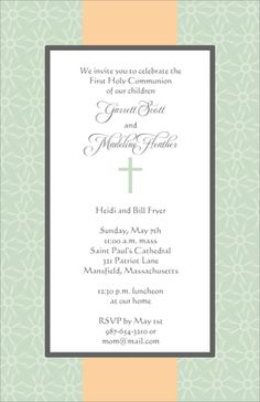 Elegant Green and Peach Cross Invitations