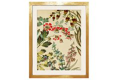 """Unusual botanical with a modern, whimsical feel. """"Japanese Fantasy Flower 1,"""" is a reproduction of a section of hand-painted French Art Deco wallpaper, 21""""x25"""".  Offered by seller Trowbridge for 249 dollars.  #2 for us."""