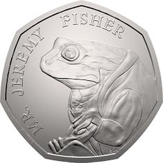 This is the first UK coin to feature Jeremy Fisher in his famous waterproof mackintosh coat. It was issued as part of the second series of Beatrix Potter Beatrix Potter, Rare British Coins, Rare Coins, Mint Coins, Silver Coins, Change Checker, English Coins, Rare 50p, Fifty Pence Coins