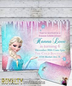 Disney Frozen Birthday Party Invitation Kids Birthday Princess Free Thank You Favor Tags on Etsy, $6.25