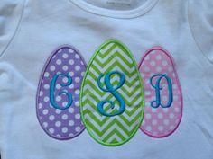 Three Easter Eggs Custom made appliqued monogrammed embroidered t-shirt boys, girls, holidays, Easter Sunday, seasonal on Etsy, $25.00