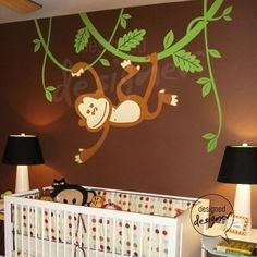 So cute for a boy. I would make these changes: -vines lower -smaller scale - khaki striped walls.
