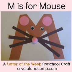 Letter M Crafts - Preschool and Kindergarten Preschool Letter Crafts, Alphabet Letter Crafts, Abc Crafts, Preschool Projects, Daycare Crafts, Classroom Crafts, Preschool Activities, Letter Tracing, Letter Art