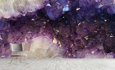 Purple amethyst quartz geode Wall Mural   All That Glitters Of Wallpaper, Peel And Stick Wallpaper, Designer Wallpaper, Pattern Wallpaper, Quartz Geode, Amethyst Quartz, Purple Amethyst, Faux Brick, Crystal Wall