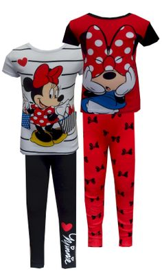Disney Minnie Mouse 4 Piece Pajama Simply Adorable! These 100% cotton mix  and match 3ca036d42