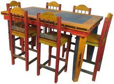 Mexican Painted Furniture | Furniture > Dining Room furniture > Stool > Stools Set 1 Country ...
