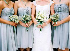 cocktail-length gray bridesmaid dresses | Cassidy Brooke #wedding