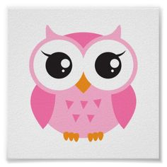 Shop Cute pink cartoon baby owl poster created by BrightAndBreezy. Owl Clip Art, Owl Art, Owl Cartoon, Baby Cartoon, Owl Logo, Owl Crafts, Pink Owl, Boy Decor, Baby Owls