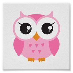 Χαριτωμένο ροζ καρτούν κουκουβάγια μωρό αφίσα