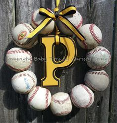 Baseball Love Wreath with Letter - Pittsburgh Pirates