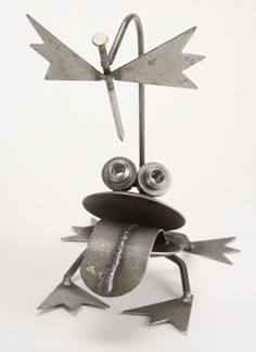 Big Mouth Frog w/Fly - Yardbirds are metal Critters made from overrun, discontinued, rejected, and scrap materials.  Represented at Human Art Gallery in Ojai, CA.