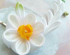Daffodil Fabric Flower Hair Pins - Japanese Kanzashi