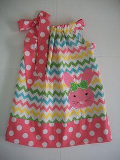 Easter bunny pillowcase dress chevronSize 3 by amaritascloset