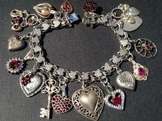Vintage Charm Bracelet Collection - I Love You Ruby Hearts Silver & Enamel Charm Bracelet [Ruby Hearts Charm Bracelet] : eCharmony - Vintage Silver Enamel Souvenir Travel Shield Bracelet Charms, Vintage Bracelet Charms Vintage Charm Bracelet, Silver Charm Bracelet, Silver Bracelets, Silver Charms, Vintage Jewelry, Charm Bracelets, Silver Earrings, Ladies Bracelet, Heart Jewelry