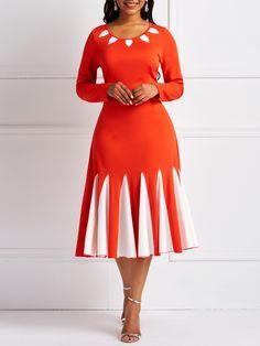 afrikanische kleider Silhouette:A-Line Dress Length:Mid-Calf Sleeve Length:Long Sleeve Sleeve Type:Regular Neckline:Round Neck Combination Type:Single Closure:Pullover Elasticity: Women's A Line Dresses, Fall Dresses, Elegant Dresses, Casual Dresses, Dresses With Sleeves, Dresses Dresses, Dresses Online, Skater Dresses, Sleeve Dresses