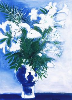 André Brasilier. Vase with White Flowers.