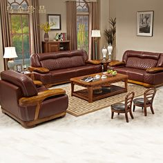 Genuine Leather sofa set living room furniture muebles de sala futon recliner beanbag divano bed couch bankstel sofas wood chic - FLASHSALE ❤️ All Category Genuine Leather Sofa, Leather Sofa Set, Living Room Sofa Design, Living Room Furniture, Furniture Sofa Set, How To Make Sofa, Royal Sofa, Wooden Sofa Set Designs, Wood Sofa