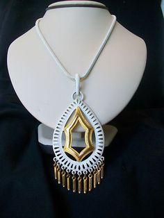 Exotic Mod Vintage 1970s White Enamel Overlay Fringed Oriental Pendant Necklace | eBay