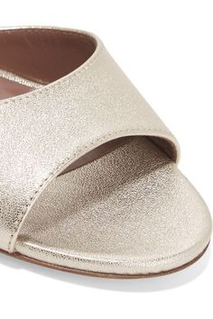 Tabitha Simmons - Jerry metallic leather sandals - #metallicleather - Tabitha Simmons - Jerry metallic leather sandals... Leather Espadrilles, Leather Sandals, Leather Boots, Block Heel Loafers, Heeled Loafers, Gold Ballet Flats, Leather Ballet Flats, Metallic Leather, Leather Slip Ons