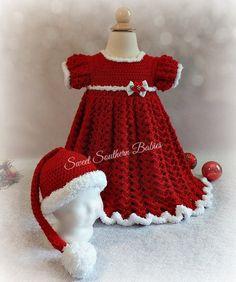 Crochet Toddler, Baby Girl Crochet, Crochet Baby Clothes, Crochet For Kids, Knit Crochet, Crochet Hats, Baby Girl Christmas Dresses, Girls Spring Dresses, Baby Patterns