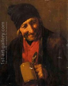80% off a Hand Made Oil Painting Reproduction of Portrait Of An Old Man Drinking, one of the most famous paintings by Nicholas Gysis. Free certificate of authenticity free shipping.
