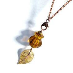 Upcycled Recycled Repurposed, Long Necklace Pendant,  Leaf, For Fall, Amber on Etsy, $30.00