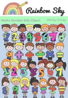 A great collection of 56 graphics to use in your next set of Maths related worksheets or activity stations. Numbers 1 - 9 plus the four basic operation signs. For personal and commercial use! Tranparent backgrounds Clipart saved as PNG files at 300 dpi. Math Clipart, Snowman Clipart, Science Clipart, Teaching Numbers, Math Numbers, Primary Maths, Primary Classroom, Simple Math, Easy Math