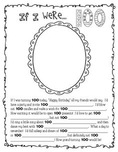 A fun activity for the 100th Day of School.Included:* Fill-in-the-blank story and self portrait (at age 100)* I am 100 Days Smarter Coloring Page