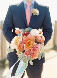 coral wedding bouquet for fall beach weddings